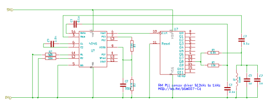 PLL - with frequency divider to bring VCO frequency up to 512kHz from the sensor resonance of 1kHz
