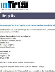 Im Tirtzu&#039;s tax-deductible donations via Central Fund for Israel pass-through