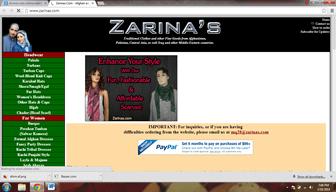 Zarinas.com Afghani Online shopping website