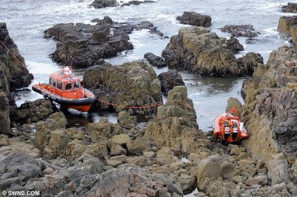One of these boats was sent out to 'rescue' the other one when it got stuck on the rocks.