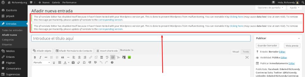 Error after a WordPress upgrade