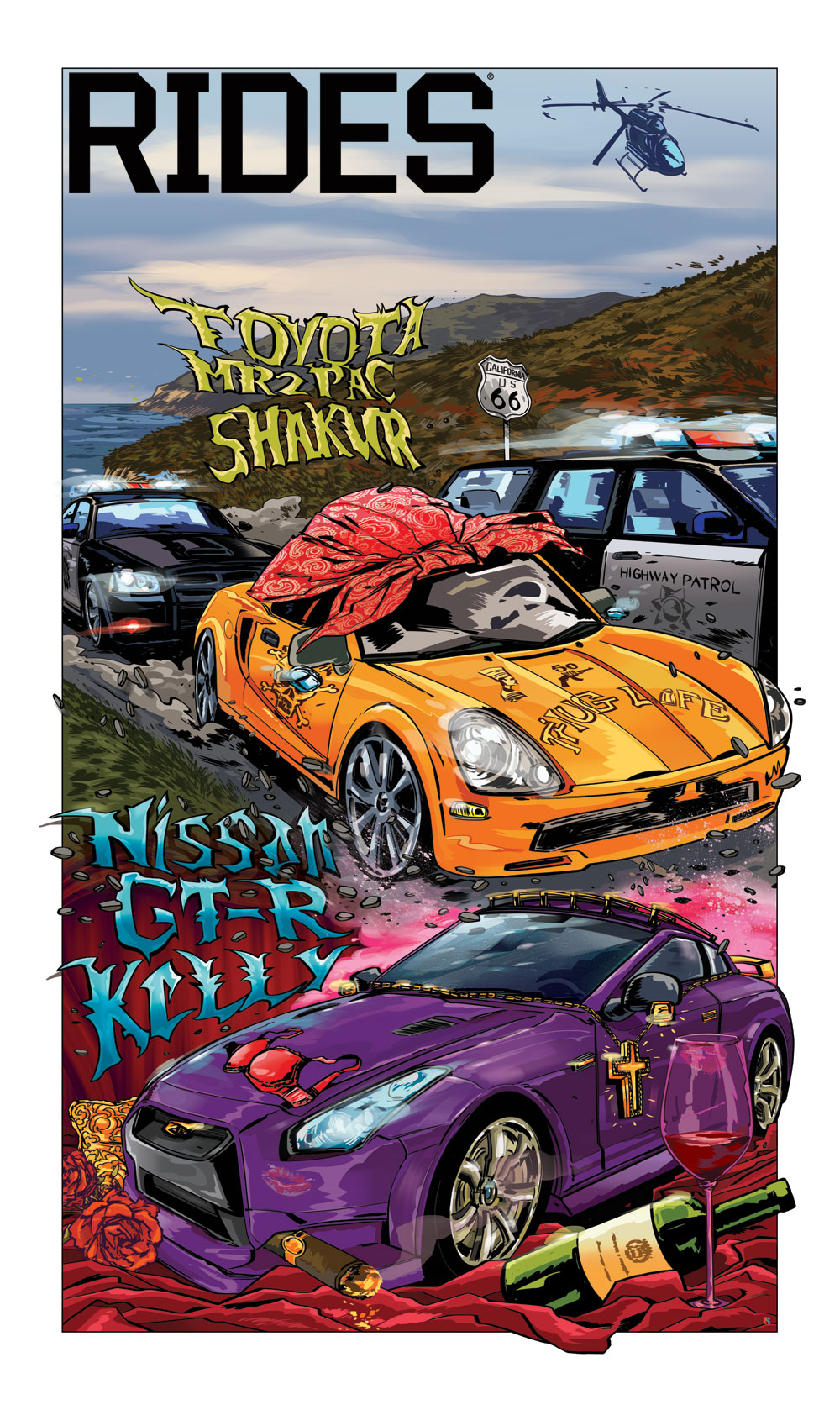 rides cars cartoon car toon mash box r kelly tupac 2pac shakur tyota mr2 nissan gt-r