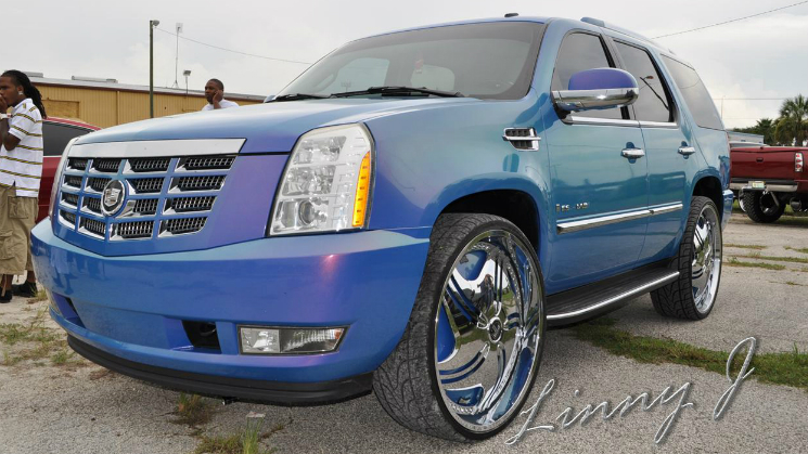 rides cadillac escalade blue chameleon dub revolution spinners 28-inch