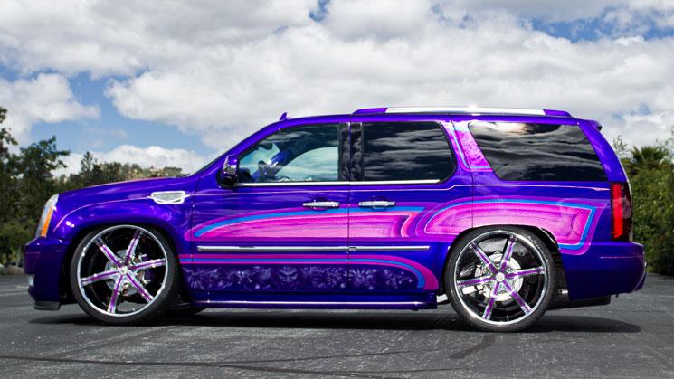 rides magazine nok nocturnal car club house of color pinstripes 2008 Cadillac Escalade on 26-inch Lexani wheels