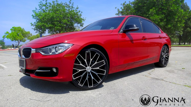 red bmw 3 series dimmer sedan gianna wheels custom