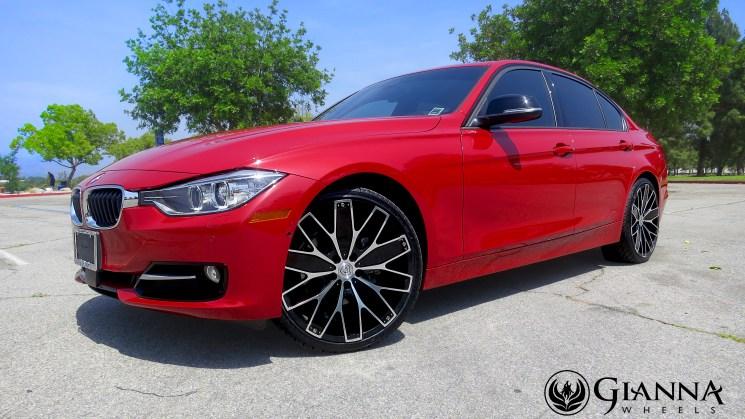 red bmw 3 series dimmer sedan gianna wheels custom