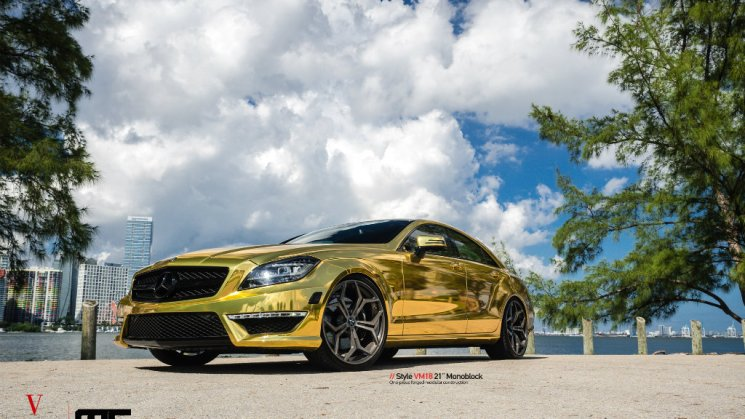 MC Customs   Gold Wrapped Mercedes-Benz CLS63 · Vellano Wheels
