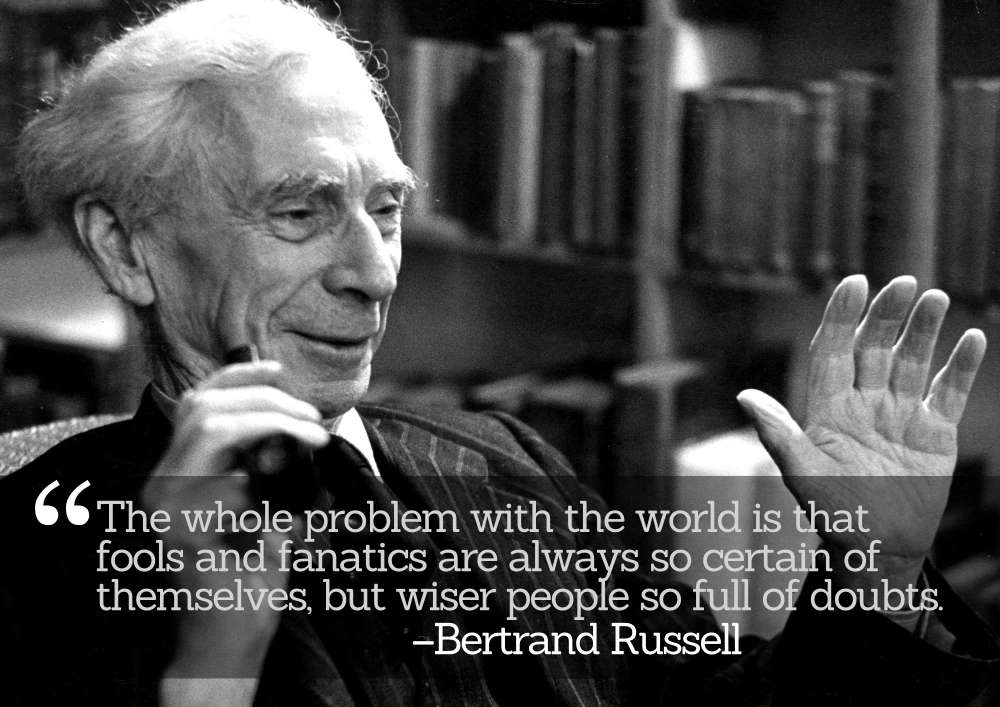 Bertrand Russell on Certainty and Self-Doubts