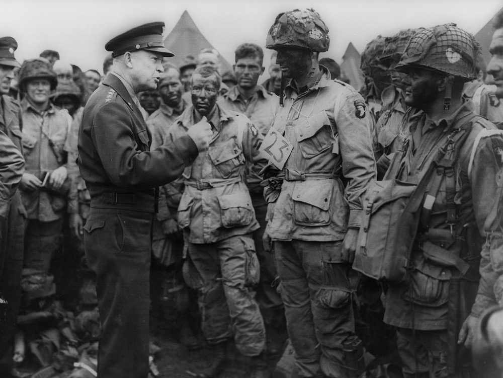 General Eisenhower addressing American paratroopers on 5-June-1944 before the Battle of Normandy.