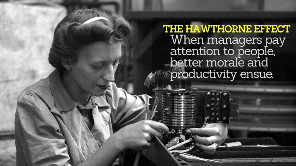 The Hawthorne Effect: When managers pay attention to people, better morale and productivity ensue