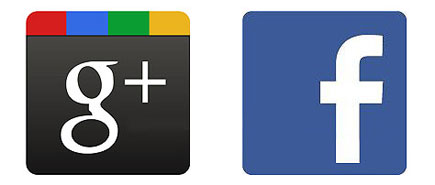 facebook and google plus logos