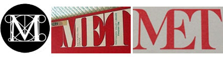 Old (left) and new (right) Metropolitan Museum of Art logos, and 1970s-era Metropolitan Opera logo (center)