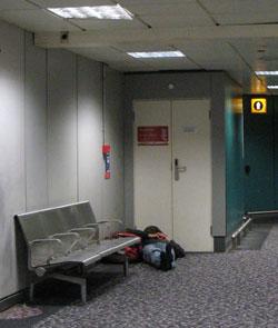 sleeping on the floor at Heathrow