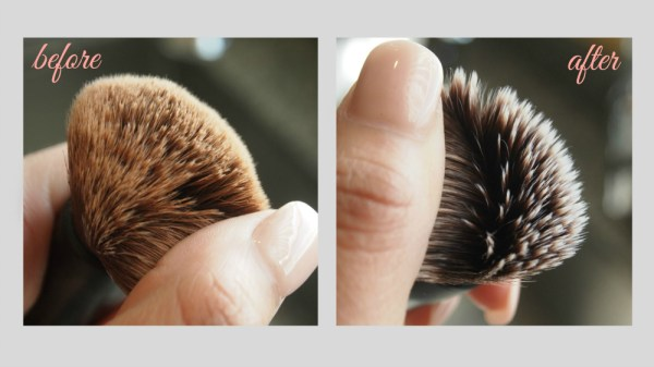 Before and After photo of my foundation makeup brush using baby shampoo to clean it