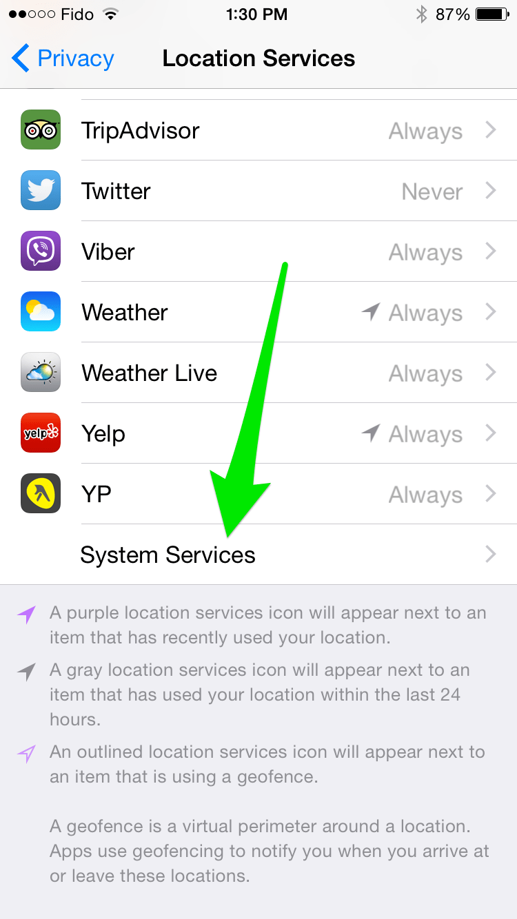 how to change location services on iphone