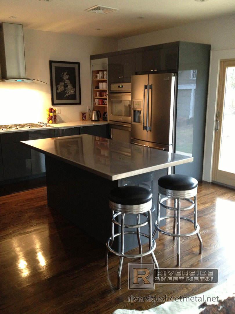 stainless steel satin finish island counter top kitchen installation 2 1080