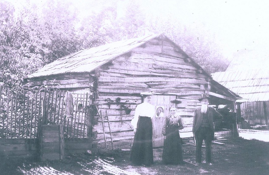 """1863"" is carved on the front of McClellan's cabin (nd)"