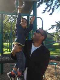 Bill White with his son Cyrus at Sunset Park, Boise, Idaho
