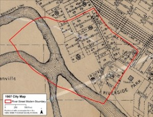 Today's boundaries of the River Street Neighborhood projected on a 1907 Boise City map. Illustration created by Rita Sulkosky.