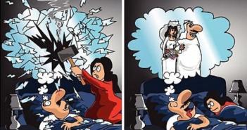 لأن رقابة الزوجة العربية دقيقة جدا و محترفة فانها تعدت الواقع لدنيا الاحلام