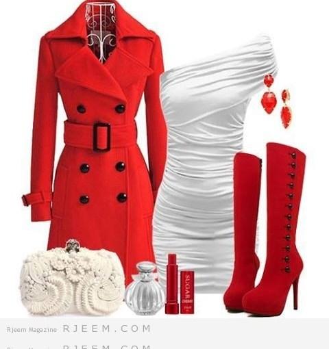 تنسيق ملابس حمراء 2014