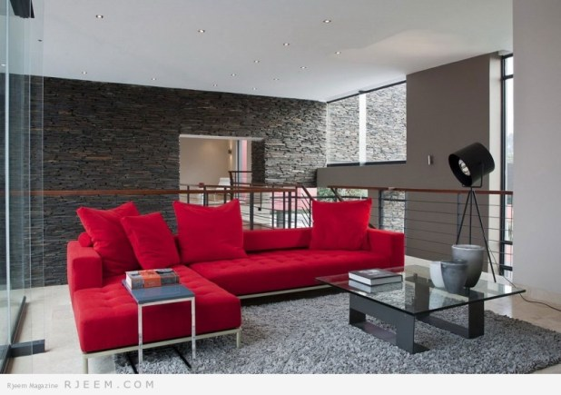 ديكورات غرف معيشة حمراء