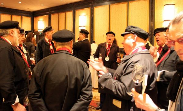 members of the Confrerie des Chevaliers du Tastevin singing at La Paulee (photo courtesy Gary Chevsky)