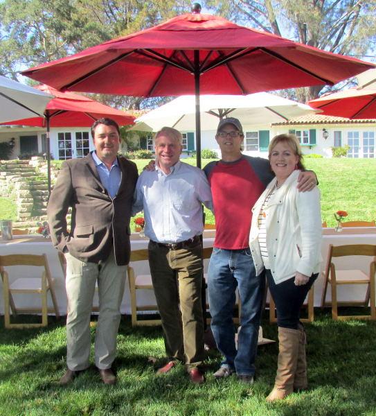 L to R: Mike Larner, Geoffrey Rusack, Wes Hagen & Alison Rusack at Rusack Vineyards