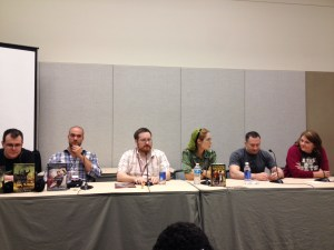 This panel, however, defies description. Left to Right: Django Wexler, Zachary Jernigan, Brian T. McClellan, Beth Cato, Myke Cole, Jaye Wells