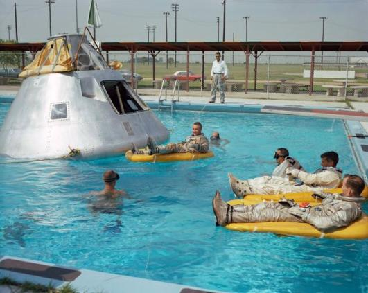 Apollo I crew members rehearsing their water landing  in 1966