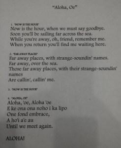 Aloha'oe ... Goodbye Song