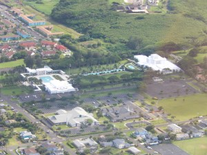 Laie Temple and Visitors' Center From the Air