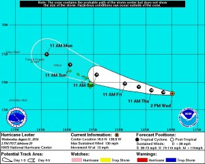 National Weather Service's Forecast Track for Hurricane Lester