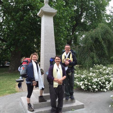 Our pilgrims: Leon Stuparich, Will Gethin and Bethan Lloyd.