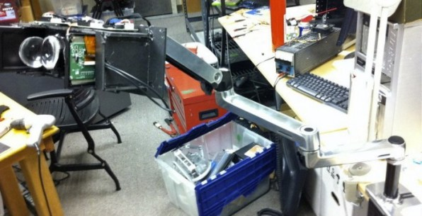Luckey was kind enough to send along this photo of the 270 degree HMD prototype in the middle of the build process.