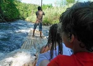 Loksado bamboo rafting, Kalimantan, Indonesia