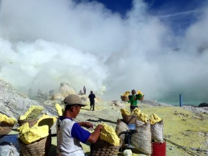 Mount Ijen miners, Java, Indonesia
