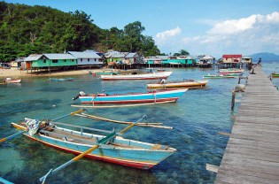 Typical stilted village around the Yapen Islands