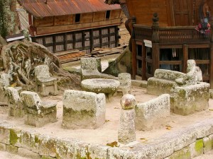 Stone chairs in Ambarita, Samosir island, Sumatra, Indonesia