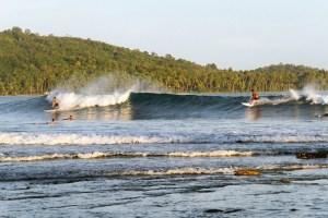 Surfing in Saroke Bay, Nias Island
