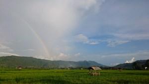 Rainbow over Dompu rice fields, Sumbawa