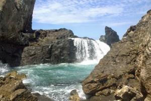 Nambung Beach seawater waterfall, Lombok