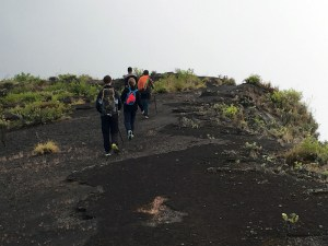 Hiking around the edge of the Mt Tambora crater