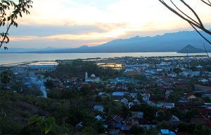Sunset over Bima, East Sumbawa, as seen from Dana Taraha hill lookout