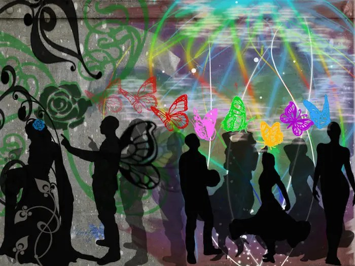 silhouettes of people mingling with butterflies above them in bright colors and one person off to the side with a flower above them