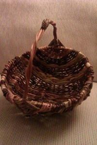 Hubby's completed basket, which sits at a jaunty angle.