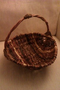 My completed basket, with an unintentional 'spout', perhaps it'll be a garden trug?