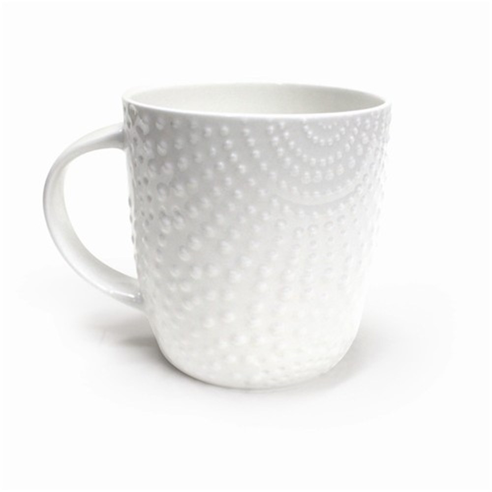 Dining Alex Liddy Bianco Dots Textured Mug Cups Mugs Robins Kitchen Plain Travel Coffee Mugs Plain Ceramic Travel Mugs furniture Plain White Travel Mugs