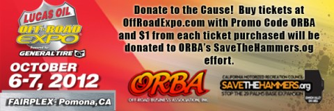 ORBAPromotion1 480x160 2012 LUCAS OIL OFF ROAD EXPO ANNOUNCES THE OFF ROAD BUSINESS ASSOCIATION (ORBA) AS CHARITY OF CHOICE