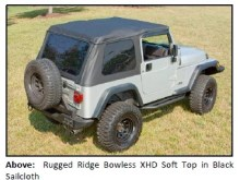 BOWLESS XHD SOFT TOP 1 220x165 RUGGED RIDGE INTRODUCES NEW BOWLESS XHD SOFT TOP WITH DOOR SURROUND FOR 1997 2006 JEEP® TJ WRANGLER